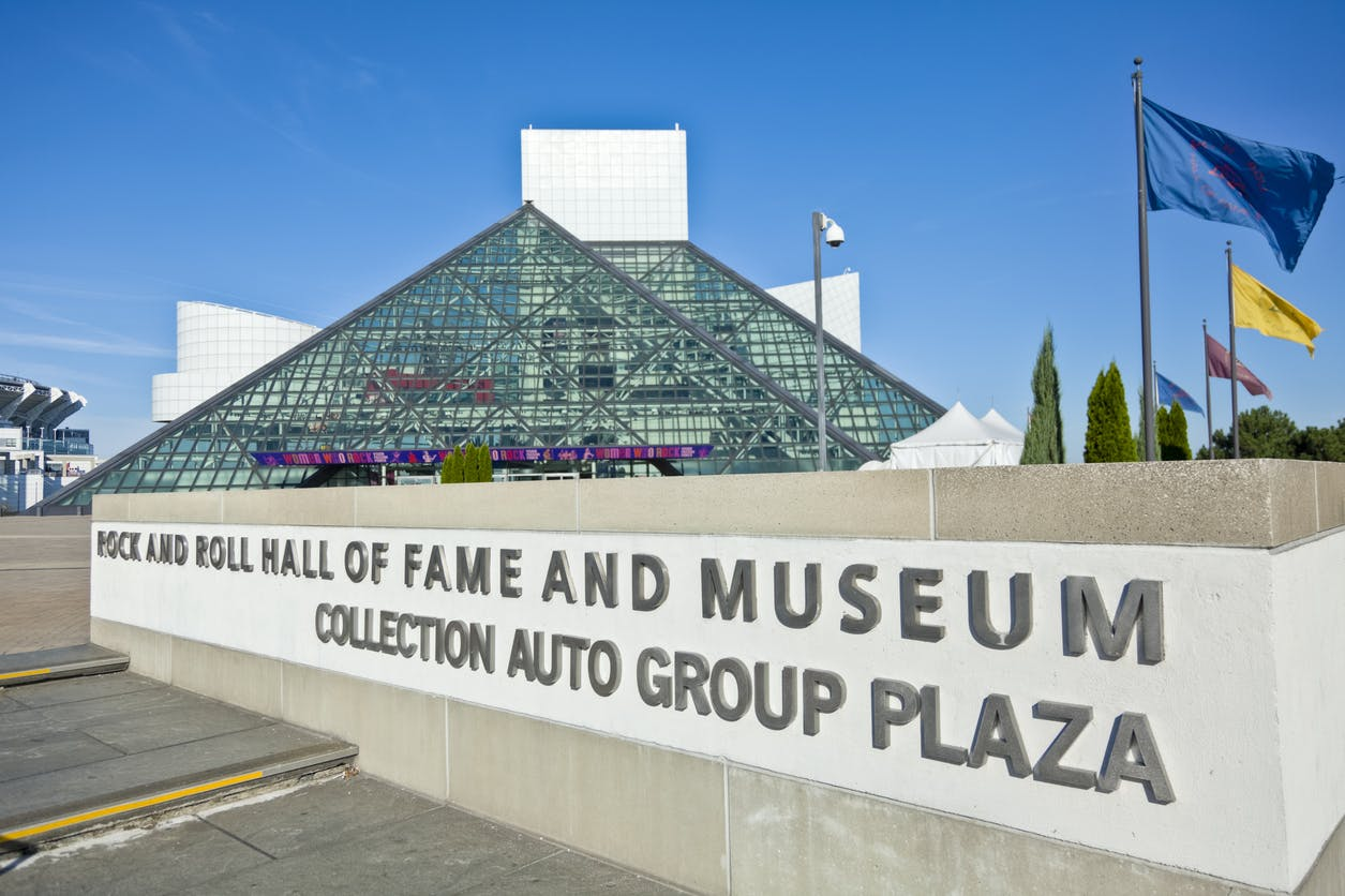 Cleveland, Ohio, USA - August 30, 2011: Rock and Roll Hall of Fame on a summer afternoon. View looking over the sign on 9th street. Women Who Rock Banner above entrance