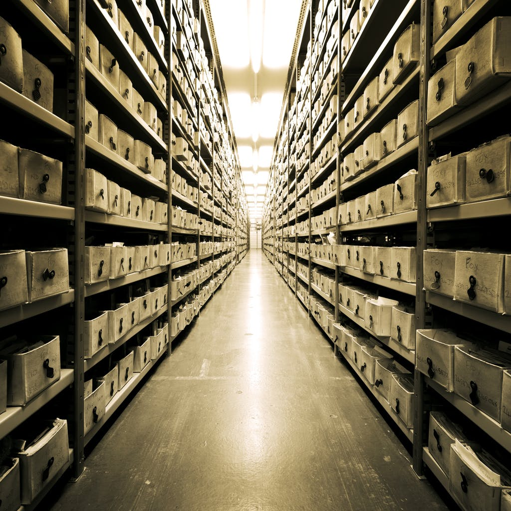 many boxes with historic photographs in the Hulton Archive London