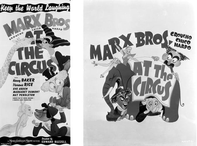Marx Bros Pristine Banner At The Circus