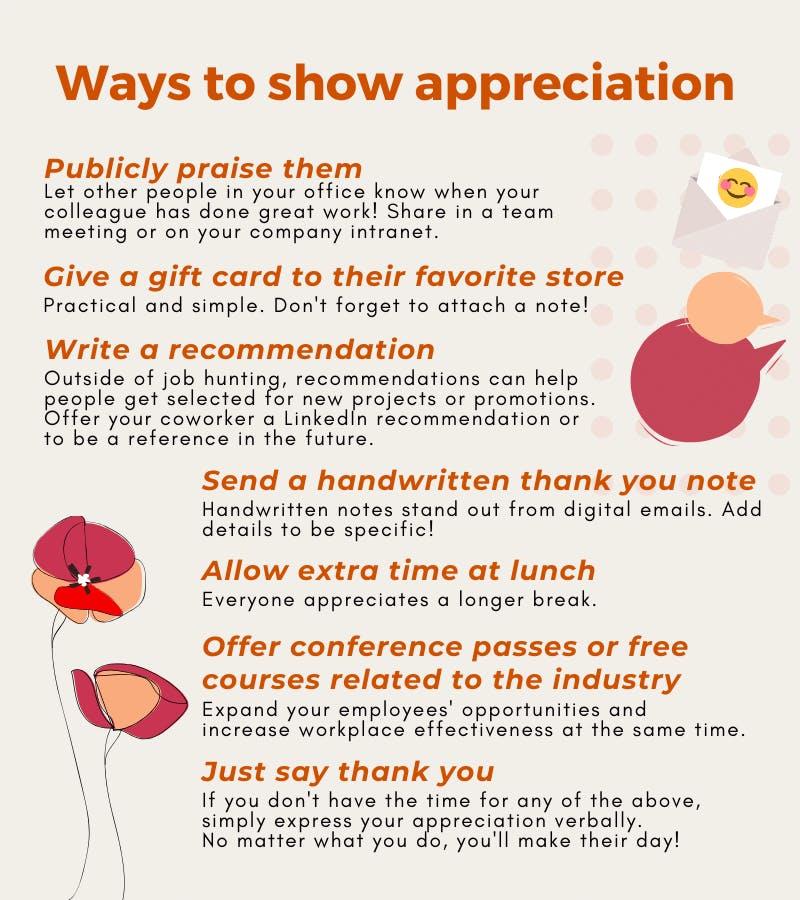 Ways to show appreciation